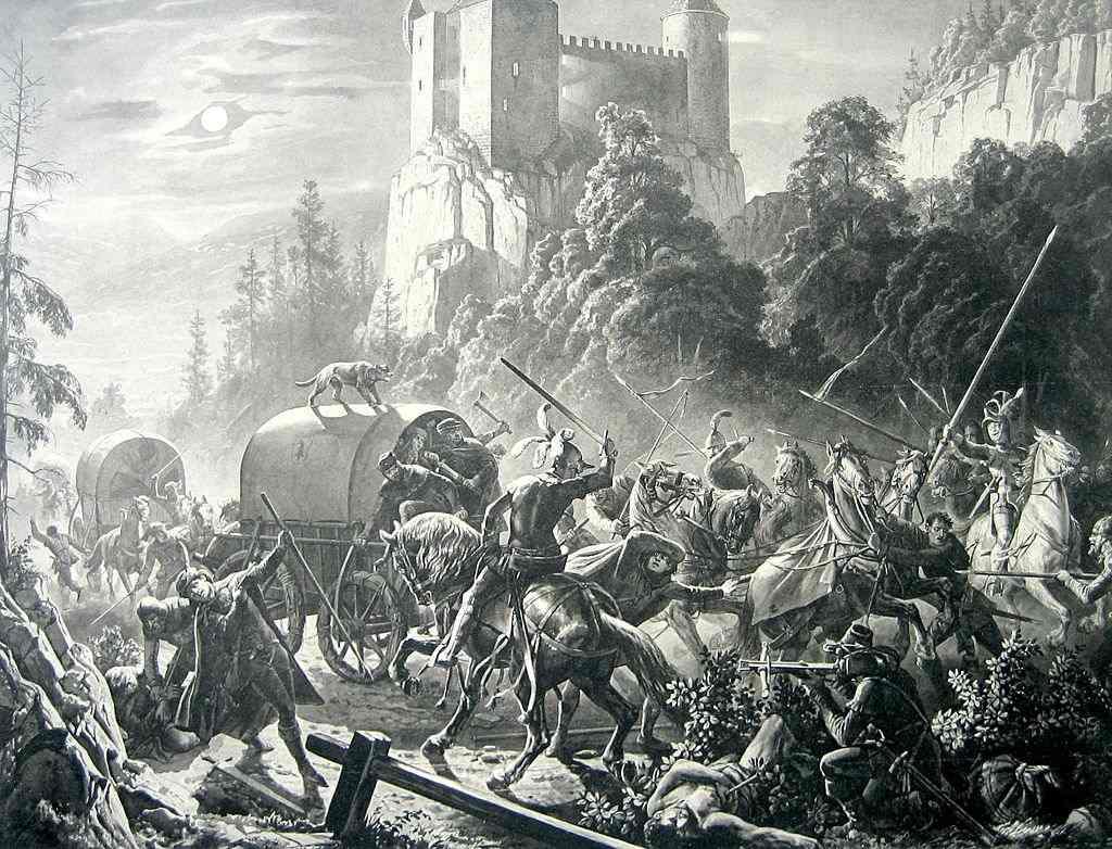 Überfall bei der Burg Alt-Falkenstein, Karl Jauslin