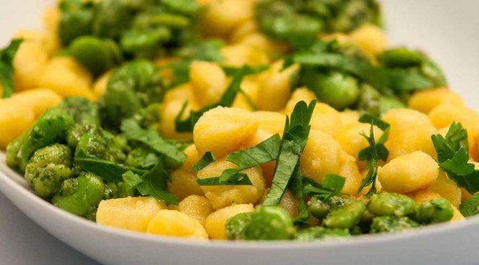 Goldnuggets aus Andengold mit Bärlauchbohnen